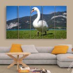 Multiple Frames Beautiful Swan Wall Painting (150cm X 76cm)
