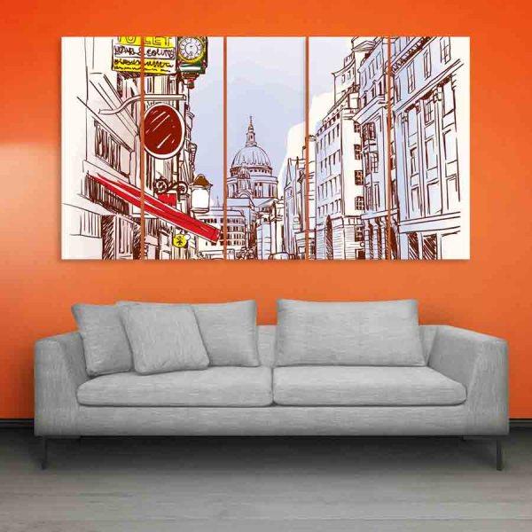 Multiple Frames London Art Wall Painting (150cm X 76cm)