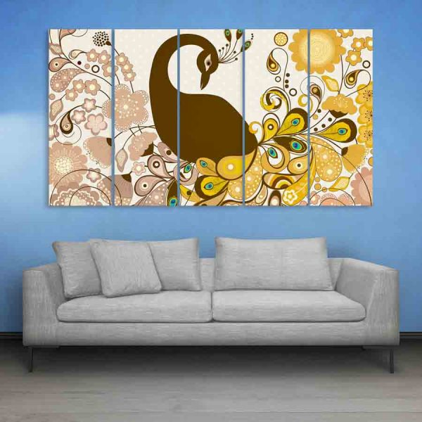 Multiple Frames Peacock And Flowers Wall Painting (150cm X 76cm)