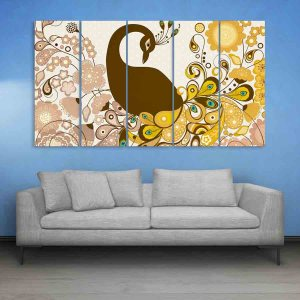 Multiple Frames Peacock And Flowers Wall Painting for Living Room, Bedroom, Office, Hotels, Drawing Room (150cm X 76cm)