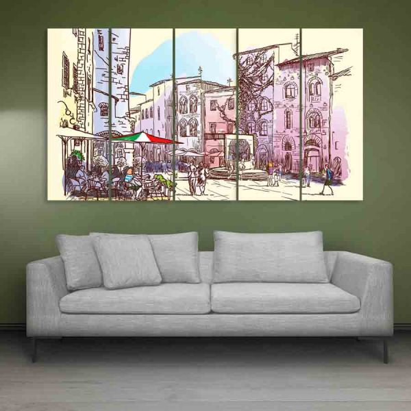 Multiple Frames Beautiful Italy Wall Painting (150cm X 76cm)