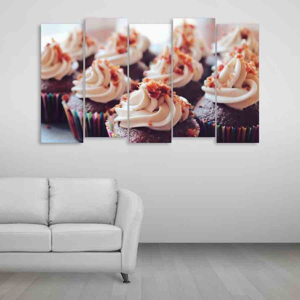Multiple Frames Beautiful Cupcakes Wall Painting (150cm X 76cm)