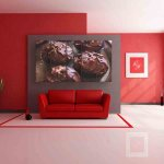 Multiple Frames Chocolate Cupcakes Wall Painting (150cm X 76cm)