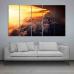 Multiple Frames Beautiful Clouds Wall Painting (150cm X 76cm)