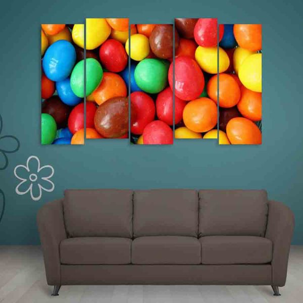 Multiple Frames Beautiful Colorful Pebbles Wall Painting (150cm X 76cm)