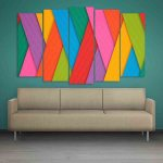 Multiple Frames Colorful Strips Wall Painting (150cm X 76cm)