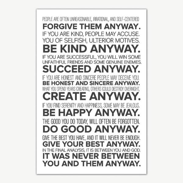 Mother Teresa Do It Anyway Quote Poster Art   Inspirational Posters For Room