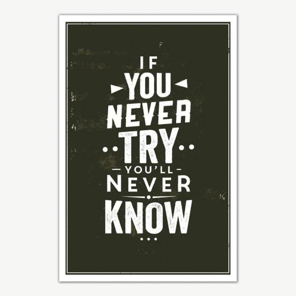If You Never Try Quote Poster Art | Motivational Posters For Room