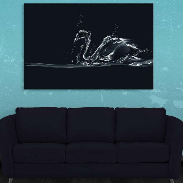 Canvas Painting - Beautiful Swan Art Wall Painting for Living Room