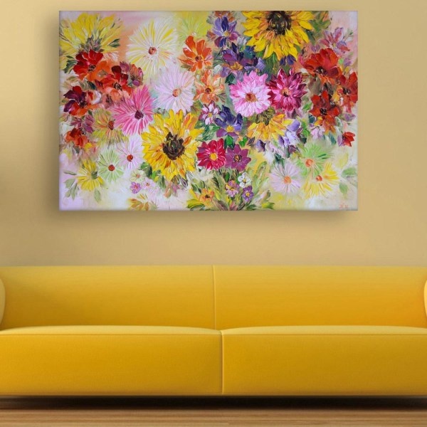 Canvas Painting - Beautiful Flowers Floral Art Wall Painting for Living Room