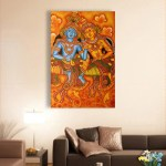 Canvas Painting - Beautiful Radha Krishna Kerala Mural Art Wall Painting for Living Room