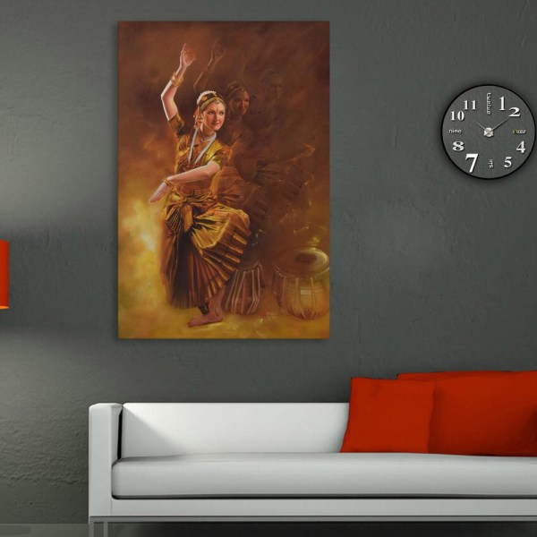 Canvas Painting - Beautiful Bharatnatyam - Indian Classic Dancer Art Wall Painting for Living Room