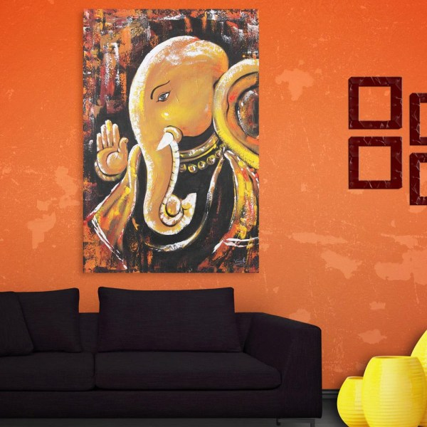 Canvas Painting - Beautiful Lord Ganesha Religious Art Wall Painting for Living Room