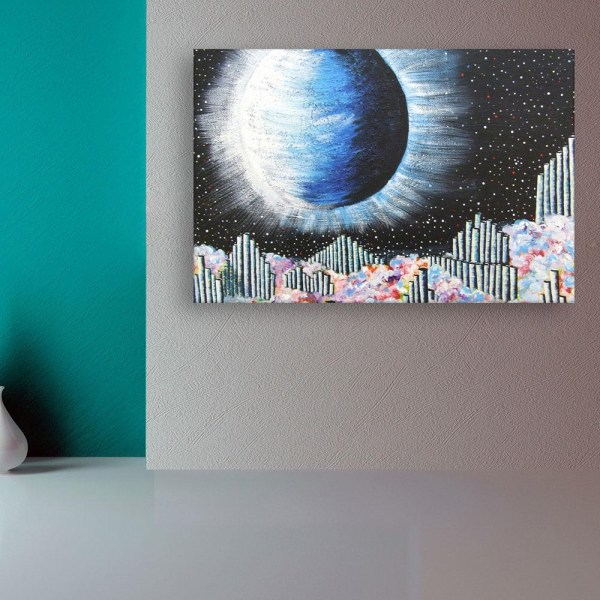 Canvas Painting - Beautiful Moon At Night Art Wall Painting for Living Room