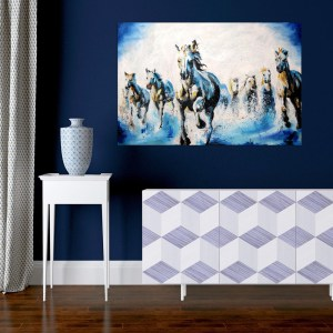Canvas Painting - Beautiful Seven Horses Running Art Vastu Wall Painting for Living Room