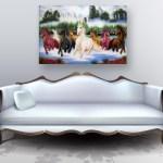 Canvas Painting - Beautiful Horses Running Art Vastu Wall Painting for Living Room