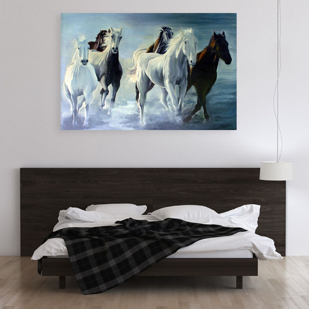 Beautiful Horses Running Vastu Art Wall, Painting For Living Room Wall Vastu