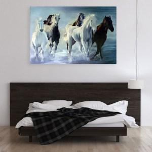 Canvas Painting - Beautiful Horses Running Vastu Art Wall Painting for Living Room