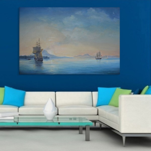 Canvas Painting - Beautiful Ships in Ocean Art Wall Painting for Living Room