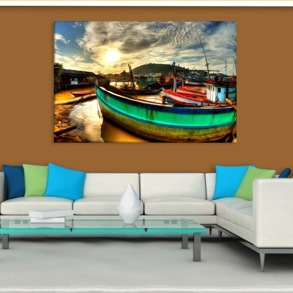 Canvas Painting - Beautiful Ships In Lake Illustration Art Wall Painting for Living Room