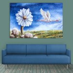 Canvas Painting - Beautiful Flower & Bird Illustration Art Wall Painting for Living Room