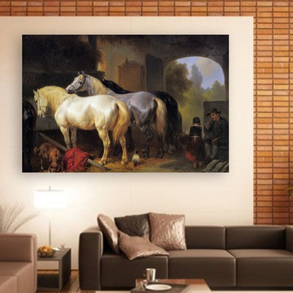 Canvas Painting - Beautiful Horses Stable Art Wall Painting for Living Room