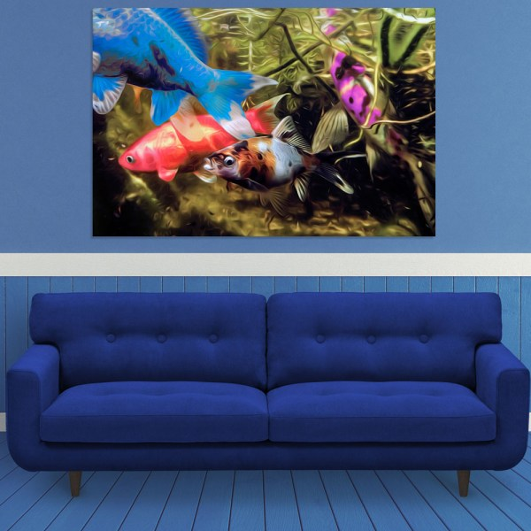Canvas Painting - Beautiful Fishes Art Wall Painting for Living Room