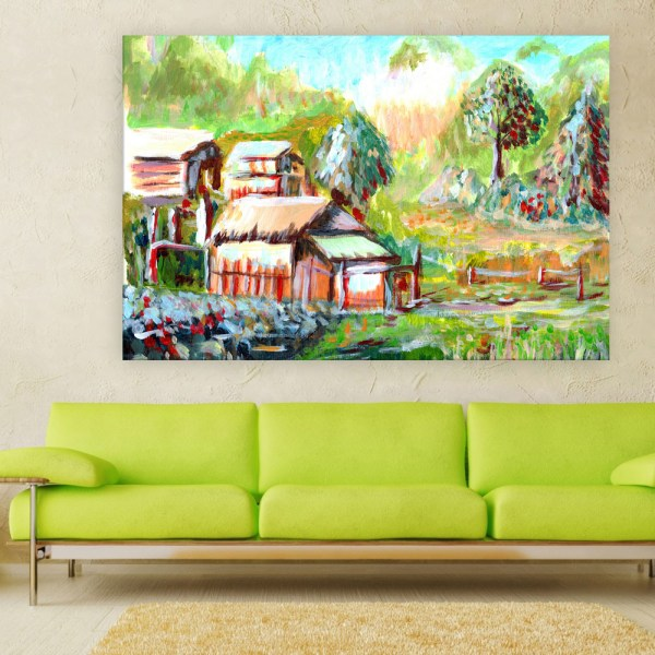 Canvas Painting - Beautiful Village Illustration Art Wall Painting for Living Room