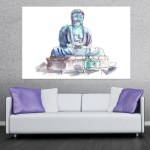 Canvas Painting - Great Buddha of Kamakura Statue Illustration Art Wall Painting for Living Room