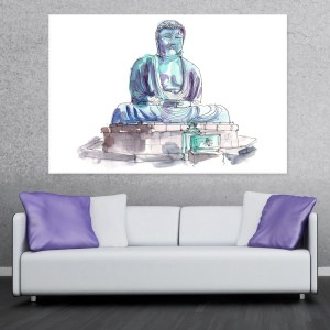 Canvas Painting – Great Buddha of Kamakura Statue Illustration Art Wall Painting for Living Room, Bedroom, Office, Hotels, Drawing Room (91cm X 61cm)