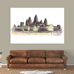 Canvas Painting – Angkor Wat Illustration Art Wall Painting for Living Room, Bedroom, Office, Hotels, Drawing Room (91cm X 61cm)