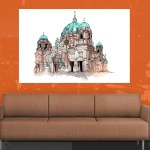 Canvas Painting - Berlin Cathedral Illustration Art Wall Painting for Living Room