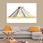 Canvas Painting - El Castillo Chichen Itza Illustration Art Wall Painting for Living Room