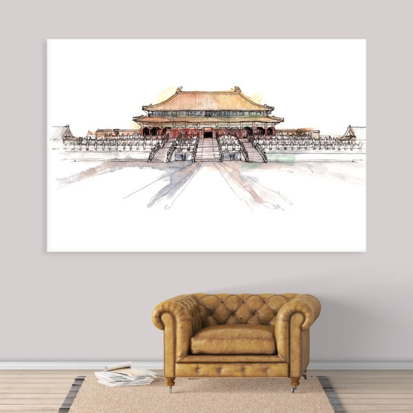 Canvas Painting - Forbidden City Beijing China Illustration Art Wall Painting for Living Room