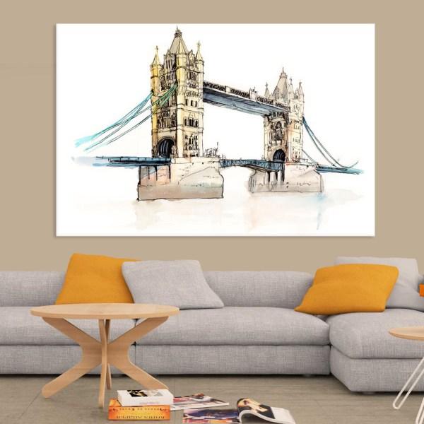 Canvas Painting - London Bridge UK Illustration Art Wall Painting for Living Room