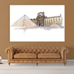 Canvas Painting - Louvre Museum Paris Illustration Art Wall Painting for Living Room