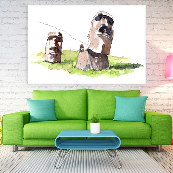 Canvas Painting - Moai Statues Illustration Art Wall Painting for Living Room