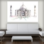 Canvas Painting - Taj Mahal Agra Illustration Art Wall Painting for Living Room