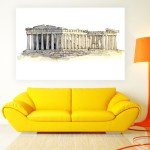 Canvas Painting - The Acropolis of Athens Illustration Art Wall Painting for Living Room