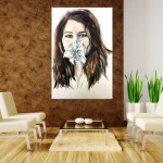 Canvas Painting - Beautiful Lady with Flower Art Wall Painting for Living Room