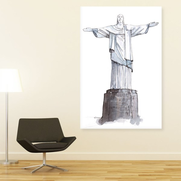 Canvas Painting - Christ The Redemmer Statue Brazil Illustration Art Wall Painting for Living Room
