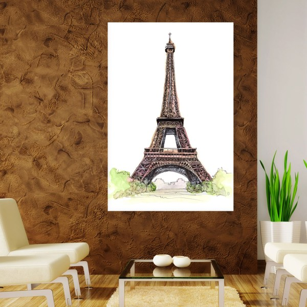 Canvas Painting - Eiffel Tower Paris Illustration Art Wall Painting for Living Room