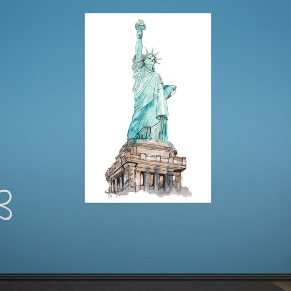 Canvas Painting - Statue of Liberty Illustration Art Wall Painting for Living Room