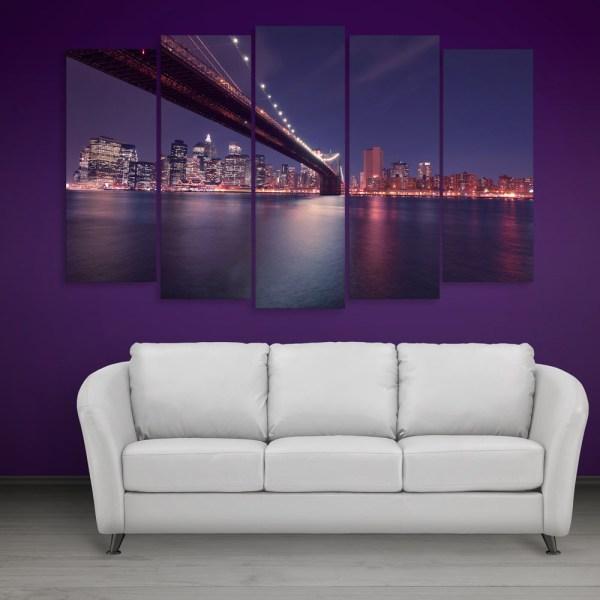 Multiple Frames Beautiful Brooklyn Bridge Wall Painting for Living Room