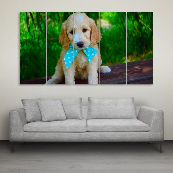 Multiple Frames Cute Puppy Wall Painting for Living Room