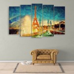 Multiple Frames Beautiful Eiffel Tower Wall Painting for Living Room