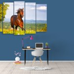 Multiple Frames Beautiful Running Horse Wall Painting for Living Room
