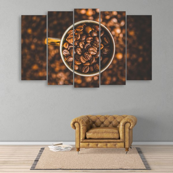 Multiple Frames Beautiful Coffee Beans Wall Painting for Living Room