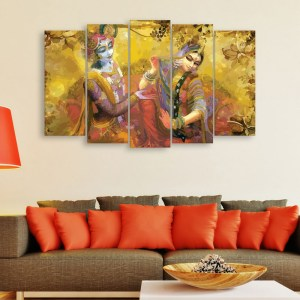 Multiple Frames Beautiful Radha Krishna Wall Painting for Living Room