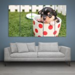 Multiple Frames Beautiful Puppy Wall Painting for Living Room